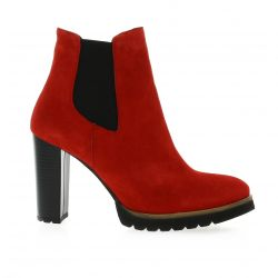 Pao Boots cuir velours rouge