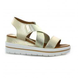 Alissia Nu pieds cuir doré