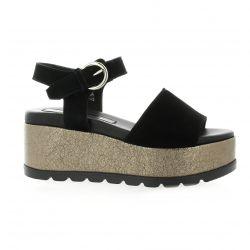Borgoroma Nu pieds cuir velours noir