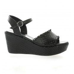 Borgoroma Nu pieds cuir noir