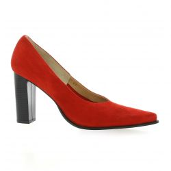 Vidi studio Escarpins cuir velours rouge