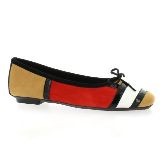 Reqins Ballerines cuir velours camel/rouge
