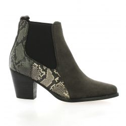 Reqins Boots cuir python gris