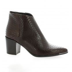 Pao Boots cuir serpent marron