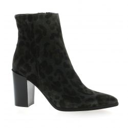 Pao Boots cuir velours leopard