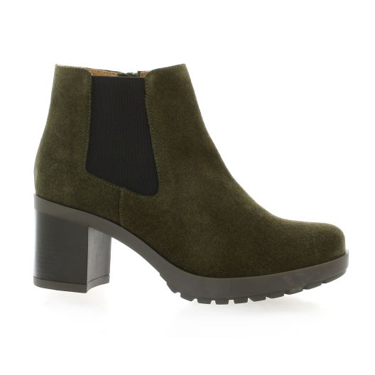 Exit Boots cuir velours kaki