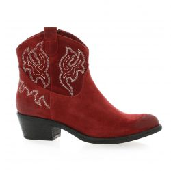 Paoyama Boots cuir velours rouge