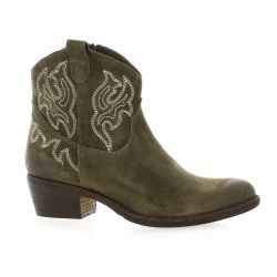 Paoyama Boots cuir velours taupe