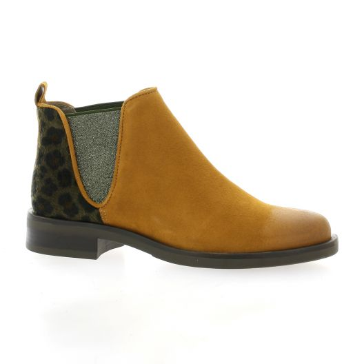 Mkd Boots cuir velours camel/leo