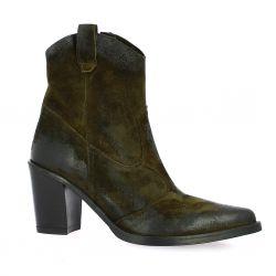 Crasto Boots cuir velours kaki