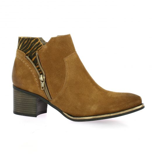 Mkd Boots cuir velours cognac/leo