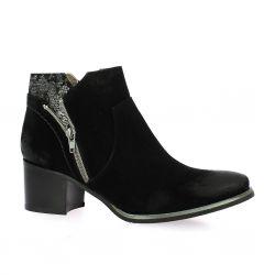 Mkd Boots cuir velours noir/serpent