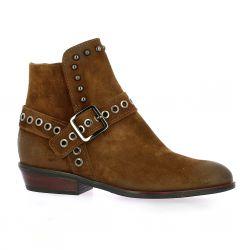 Reqins Boots cuir velours cognac