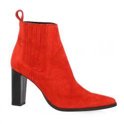 Vidi studio Boots cuir velours rouge