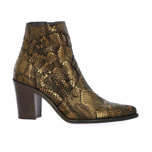 Pao Boots cuir python bronze