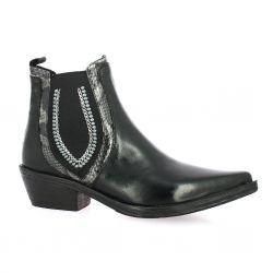 Crasto Boots cuir glacé noir