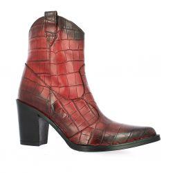 Emanuele Crasto Boots cuir croco bordeaux