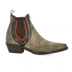Emanuele Crasto Boots cuir velours taupe