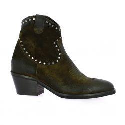 Emanuele Crasto Boots cuir velours kaki