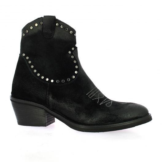 Emanuele Crasto Boots cuir velours noir