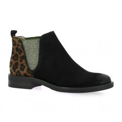 Mkd Boots cuir velours noir/cognac