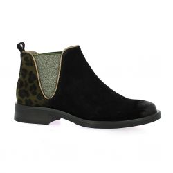 Mkd Boots cuir velours noir/kaki