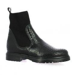 Reqins Boots cuir croco noir