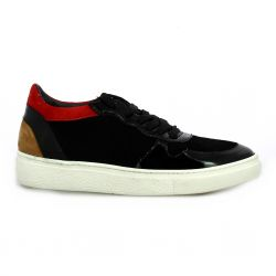 Reqins Baskets cuir velours noir/rouge