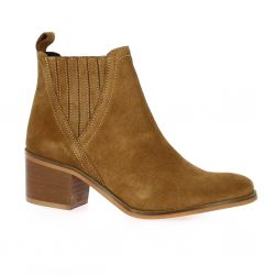 So send Boots cuir velours cognac