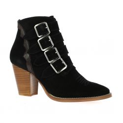 Ambiance Boots cuir velours noir
