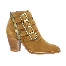 Ambiance Boots cuir velours cognac
