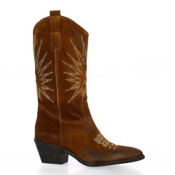 Spazio 08 Bottines cuir velours cognac