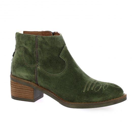 Alpe Boots cuir velours kaki