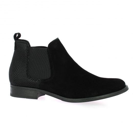 So send Boots cuir velours python noir