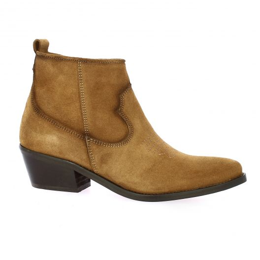 So send Boots cuir velours cognac