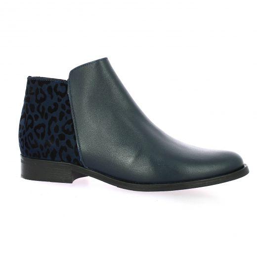So send Boots cuir leopard bleu