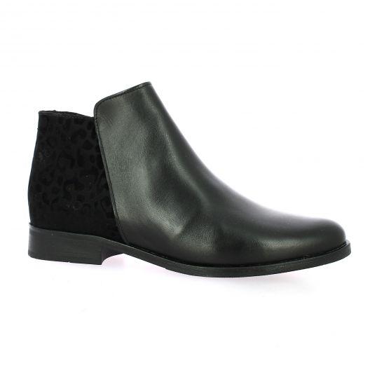 So send Boots cuir leopard noir