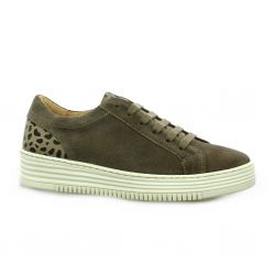 So send Baskets cuir velours taupe/leo