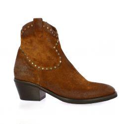 Emanuele Crasto Boots cuir velours cognac