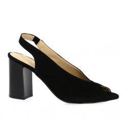 So Send Nu pieds cuir velours noir