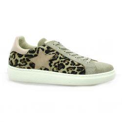 Reqins Baskets cuir leopard beige