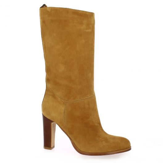 Pao Bottes cuir velours camel