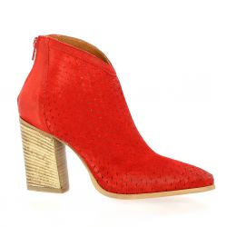 Spazio 08 Boots cuir velours rouge