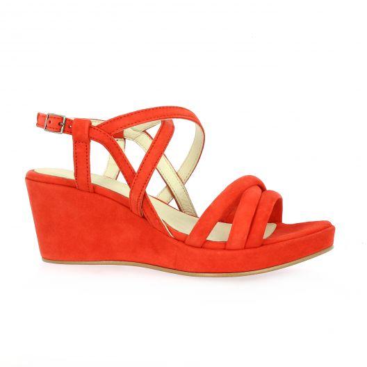 Exit Nu pieds cuir velours rouge