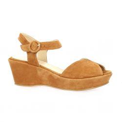Brenda zaro Nu pieds cuir velours cognac