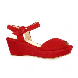 Brenda zaro Nu pieds cuir velours rouge