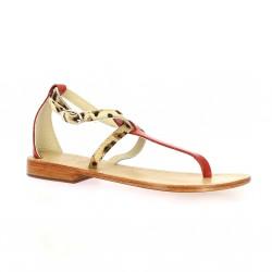 Elizabeth stuart Nu pieds cuir rouge