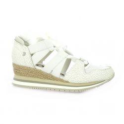 Gioseppo Baskets toile/cuir blanc