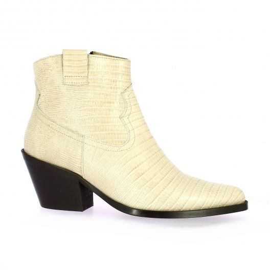 Exit Boots cuir serpent beige