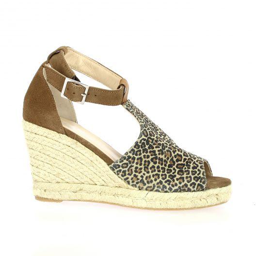 Reqins Nu pieds velours leopard beige